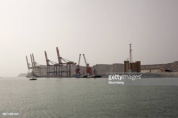 Gantry cranes stand at Gwadar Port operated by China Overseas Ports Holding Co in Gwadar Balochistan Pakistan on Tuesday July 4 2018 What used to be...