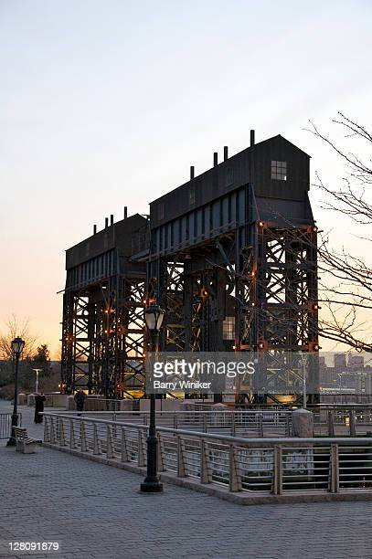 Gantry, old shipping lift, at Gantry Plaza State Park, opened 1998, Hunter's Point, Long Island City, Queens, New York, U.S.A.
