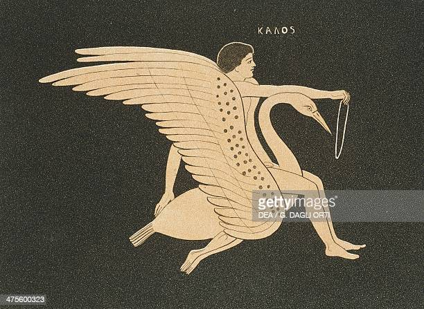 Ganymede on a swan's back as he tries to catch it with a circle illustration from Collection des vases grecs de le Comte de M Lamberg vol II...