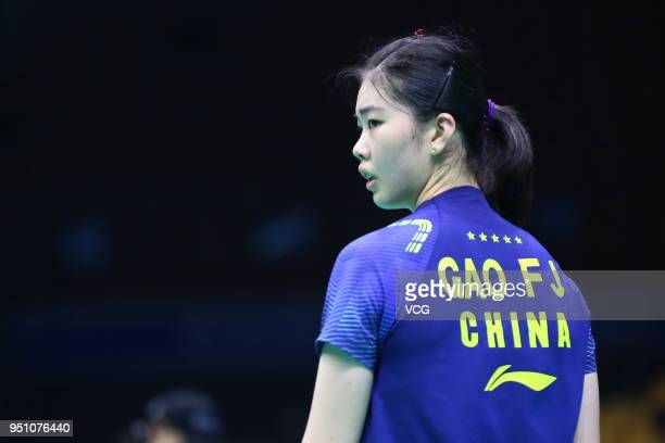 Gao Fangjie of China reacts against Nozomi Okuhara of Japan during women's singles first round match on day two of 2018 Badminton Asia Championships...