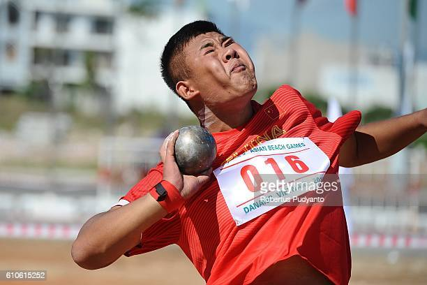 Gao Jian of China competes during the Men's Shot Put Final Match on day four of the 5th Asian Beach Games 2016 at Son Thuy Beach on September 27 2016...