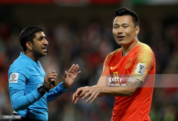 Gao Lin of China gestures to the referee during the AFC Asian Cup round of 16 match between Thailand and China at Hazza Bin Zayed Stadium on January...