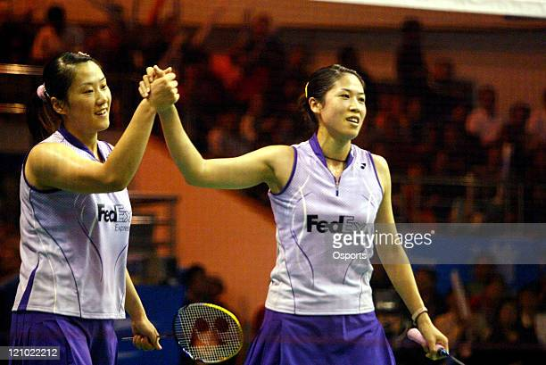 Gao Ling and Huang Sui of China against Yang Wei and Zhang Jiewen of China during the women's doubles final at the 2006 Badminton World Cup in Yiyang...