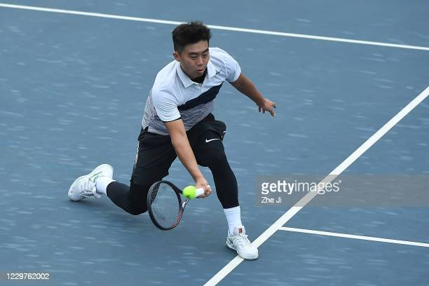 Gao Xin of China in action during the Men's singles first round against Wang Chukang of China on day 2 of the 2020 CTA Tour 800 1000 Finals Chengdu...