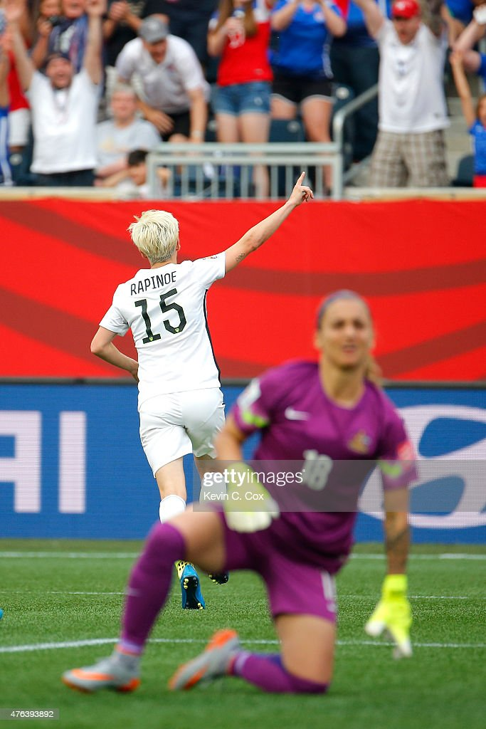 Gaolkeeper Melissa Barbieri #18 of Australia reacts after Megan Rapinoe #15 of United States scores her second goal of the match in the second half during the FIFA Women's World Cup 2015 Group D match at Winnipeg Stadium on June 8, 2015 in Winnipeg, Canada.