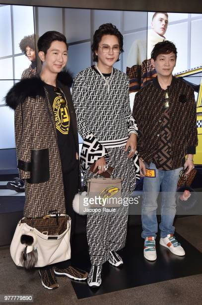 Gap Panitipad Mark Thawin and guest attend the Fendi show during Milan Men's Fashion Week Spring/Summer 2019 on June 18 2018 in Milan Italy