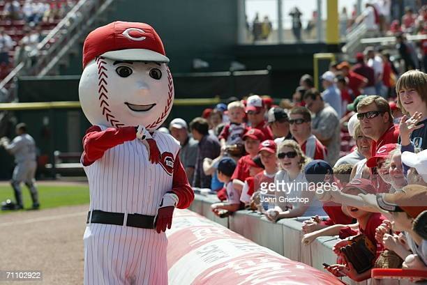 Gapper of the Cincinnati Reds greets fans during the game against the Florida Marlins at Great American Ball Park in Cincinnati Ohio on April 19 2006...