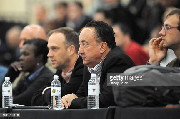 Gar Forman general manager of the Chicago Bulls watches the action during the 2016 NBA Draft Combine on May 13 2016 at the Quest Multisport in...