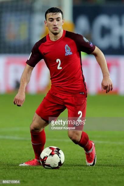 Gara Garayev of Azerbaijan runs with the ball during the FIFA 2018 World Cup Qualifier between Germany and Azerbaijan at FritzWalterStadion on...