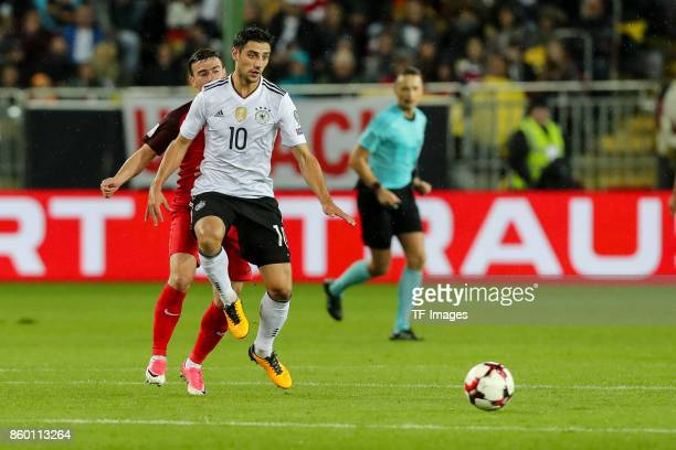 Gara Garayev of Azerbaijan und Lars Stindl of Germany battle for the ball during the FIFA 2018 World Cup Qualifier between Germany and Azerbaijan at...