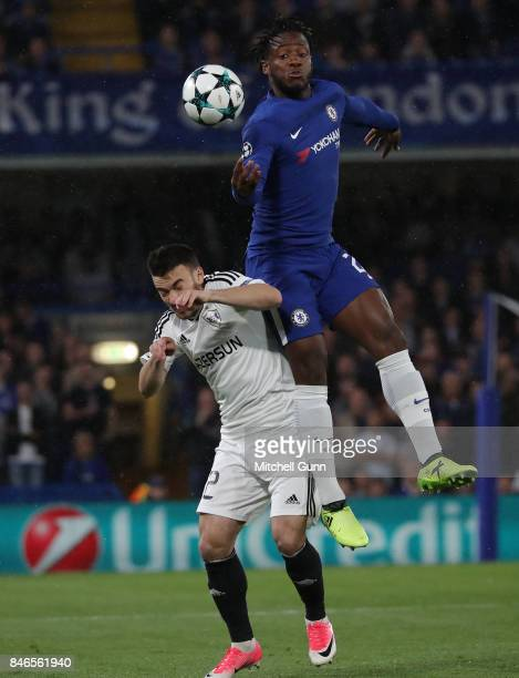 Gara Garayev of FK Qarabag and Michy Batshuayi of Chelsea compete for the ball during the UEFA Champions League group C match between Chelsea FC and...