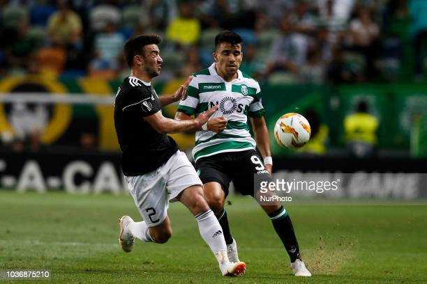 Gara Garayev of Qarabag FK vies for the ball with Marcos Acuna of Sporting during Europa League 2018/19 match between Sporting CP vs Qarabagh FK in...