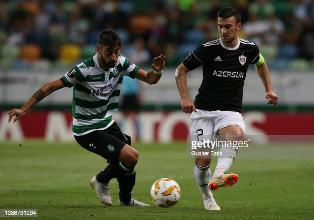 Gara Garayev of Qarabag FK with Bruno Fernandes of Sporting CP in action during the UEFA Europa League Group E match between Sporting CP and Qarabag...