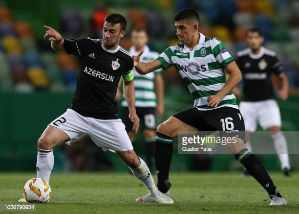 Gara Garayev of Qarabag FK with Rodrigo Battaglia of Sporting CP in action during the UEFA Europa League Group E match between Sporting CP and...