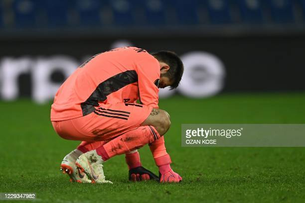 Garabagh's Azerbaijani goalkeeper Shakhrudin Magomedaliyev reacts at the end of the UEFA Europa League Group I football match between Garabagh and...