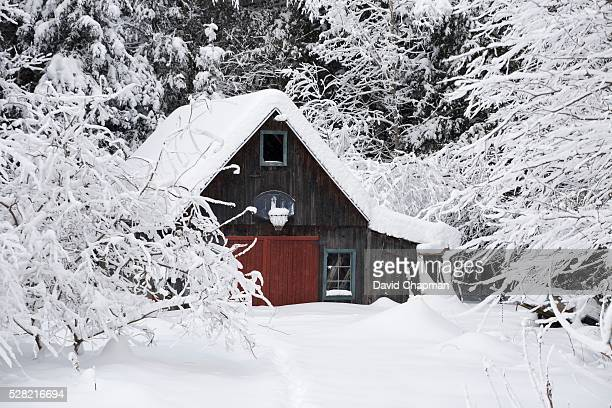 A garage covered in snow in winter