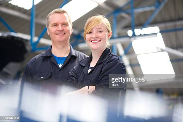 garage owner with daughter