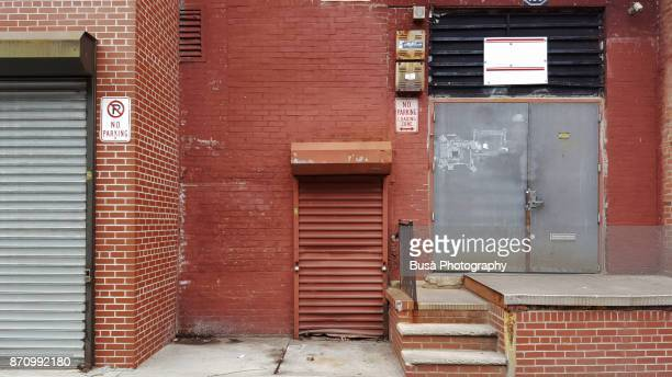 Garage roll-down grates along Carlton Avenue in Brooklyn, New York City