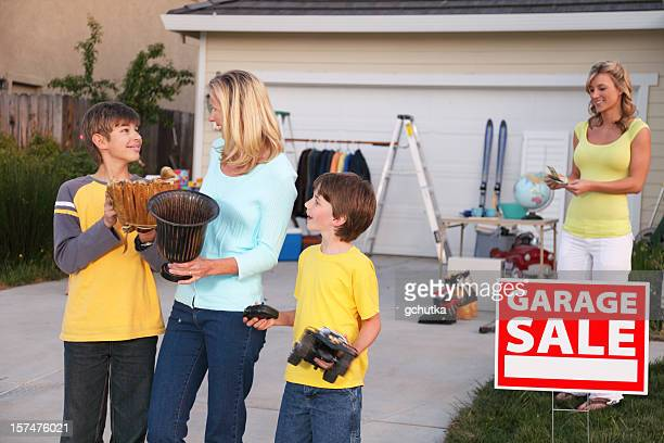 garage sale customers - garage sale stock pictures, royalty-free photos & images