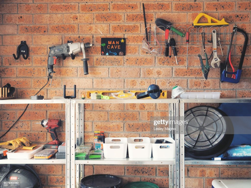 Garage used as wood working or carpentry and tools area : Stock Photo