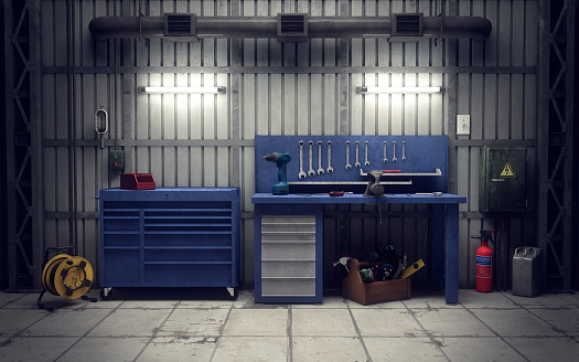 Garage workshop. 3d rendering 495378164