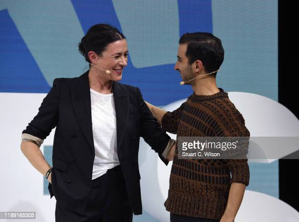 Garance Doré and Imran Amed on stage during #BoFVOICES on November 21, 2019 in Oxfordshire, England.