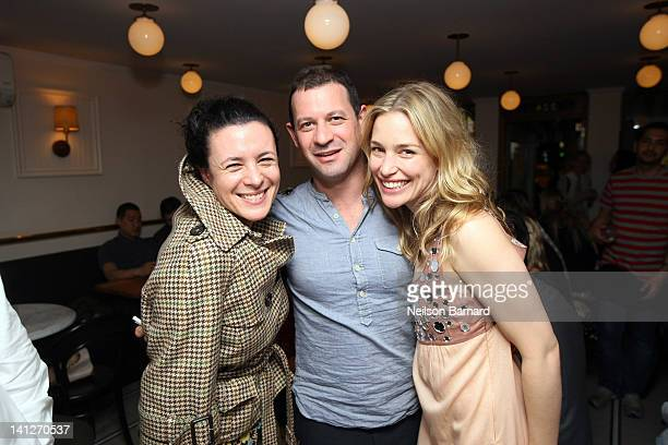 Garance Dore Dean Jankelowitz and Piper Perabo attend Piper Perabo's Dinner at Jack's Wife Freda on March 13 2012 in New York City