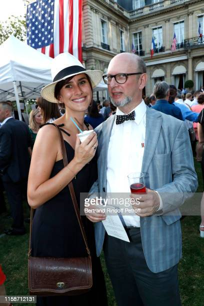 Garance Etavard and Journalist Harold Hyman attend US Embassy celebrates America's 243rd Independence Day and 50th Anniversary of the First Man on...