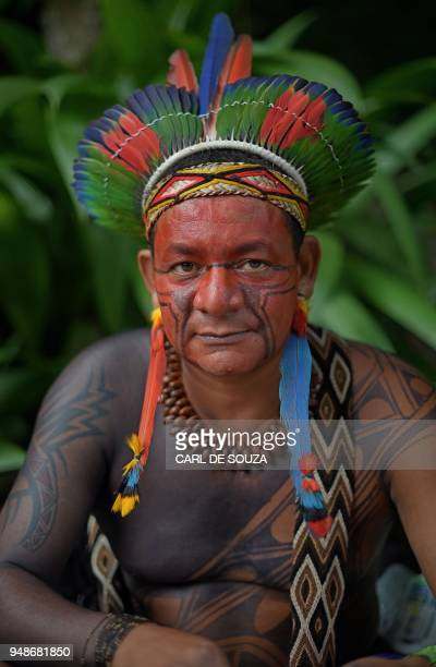 Garapira of the Pataxo tribe poses for a picture in Rio de Janeiro Brazil on April 14 2018 Brazil celebrates Indian Day every April 19 honouring the...