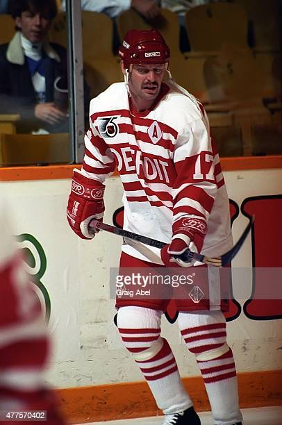 Garard Gallant of the Detroit Red Wings takes warmup prior to a game against the Toronto Maple Leafs on October 5 1991 at Maple Leaf Gardens in...