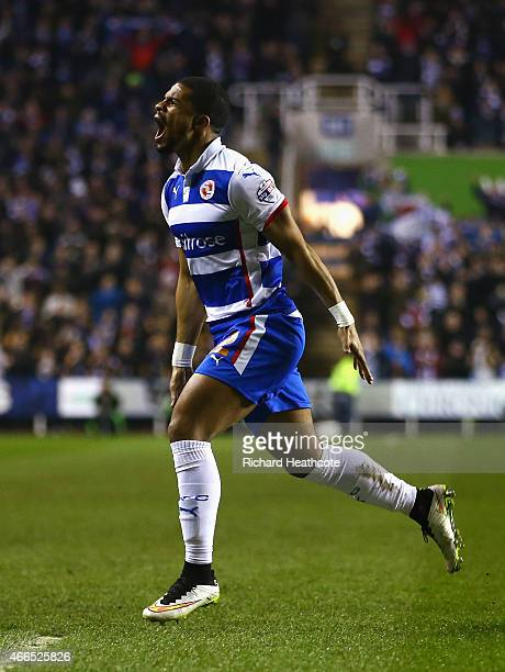 Garath McCleary of Reading celebrates scoring his team's second goal during the FA Cup Quarter Final Replay match between Reading and Bradford City...