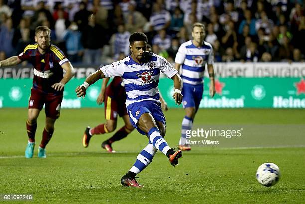 Garath McCleary of Reading scores the opening goal from a penalty during the Sky Bet Championship match between Reading and Ipswich Town at Madejski...