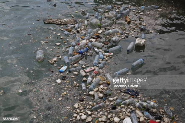 plastic bottles polystyrene other waste floating