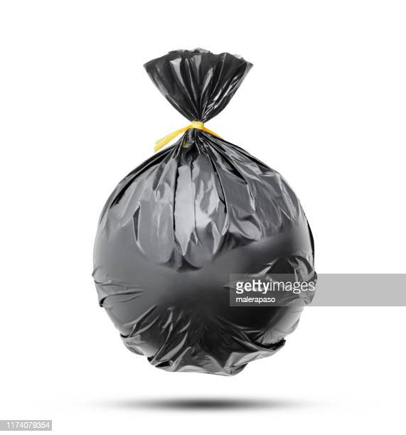 garbage bag on white background - bin bag stock pictures, royalty-free photos & images