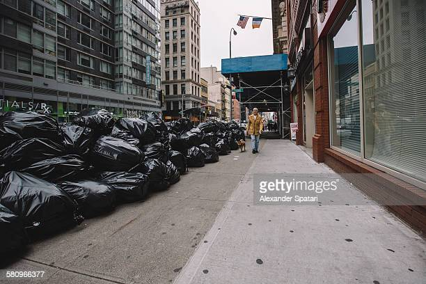 Garbage bags on Broadway, Manhattan, New York, USA