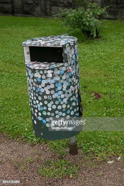 garbage bin near museum in helsinki finland