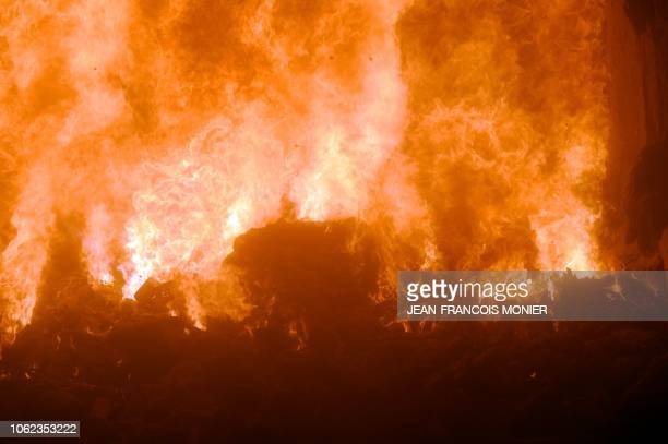 Garbage burns at over 1000 degrees in an incinerator at the Energy Recovery Unit of the garbage incineration plant in Le Mans western France on...