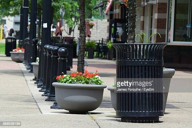 garbage can by potted plants on sidewalk - garbage can stock photos and pictures