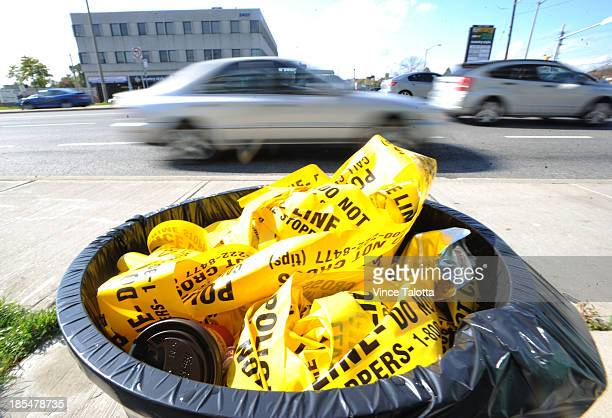 A garbage can full of police tape is all that remains at the scene of a fatal hitandrun that seems to have started as a robbery early this morning in...
