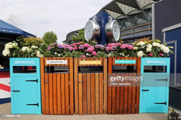 Garbage cans with flowers planted on top on day one of Royal Ascot at Ascot Racecourse on June 18 2019 in Ascot England