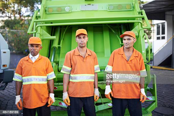 garbage collection- the men who make it happen - street sweeper stock pictures, royalty-free photos & images