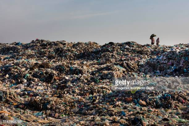 garbage collector at garbage dump, garbage mountain with plastic garbage, choeung ek, phnom penh, cambodia - cambodia stock pictures, royalty-free photos & images