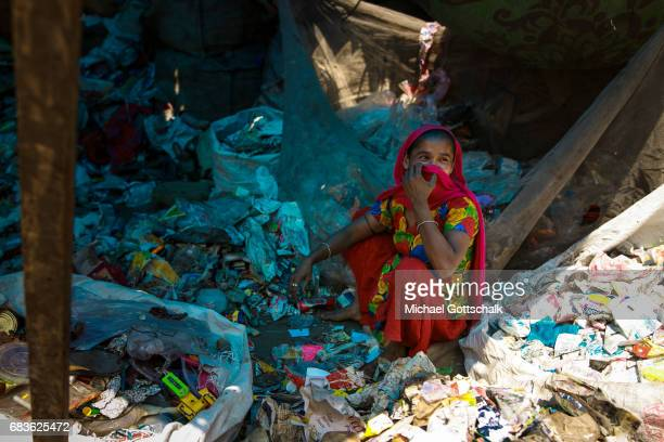 A garbage collector in the slum of the city district of Seemapuri where the Caritas and the NGO Chentanalaya support urban marginal groups on April...