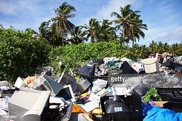 Garbage dump and recycling area on September 27 2009 on Hitaddu Island MaldivesThe maldive islands consist of around 1100 islands and 400000...