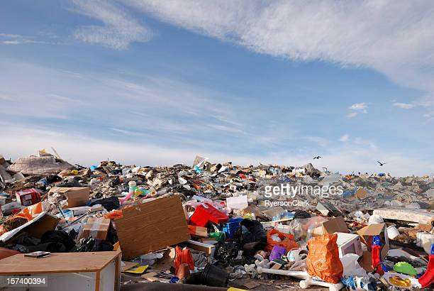 garbage dump in canada's arctic city yellowknife. - landfill stock photos and pictures