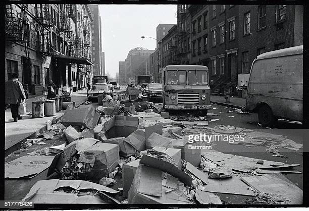 Garbage fills East 3rd Street between Avenue C and D in downtown Manhattan February 9th as New York City's weeklong garbage collectors strike...