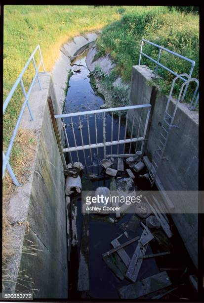 garbage in polluted water - widnes stock pictures, royalty-free photos & images