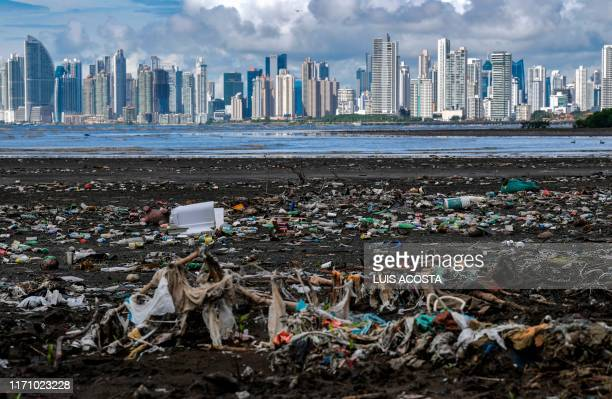 TOPSHOT Garbage including plastic waste is seen at the beach in Costa del Este Panama City on September 23 2019 Countries as diverse as Chile and...