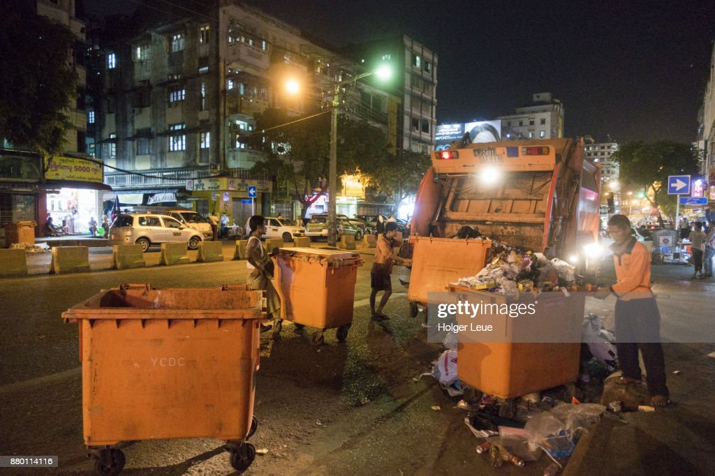 Garbage is collected in downtown at night, Yangon, Yangon, Myanmar : Stock Photo