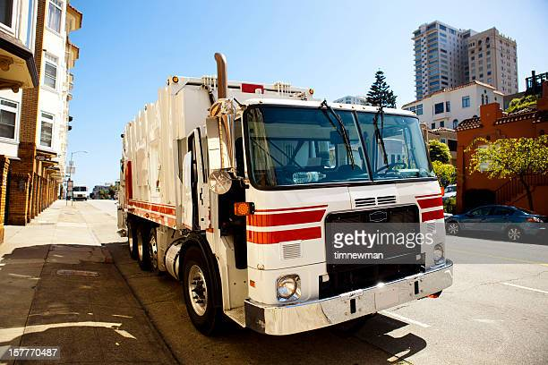 garbage truck - curbside pickup stock pictures, royalty-free photos & images